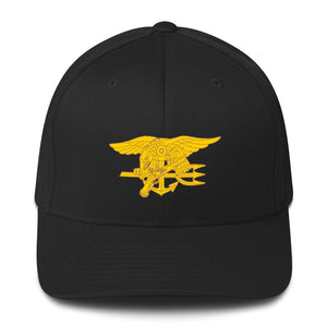 Embroidered Navy SEALs Trident and US Flag Structured Twill Cap