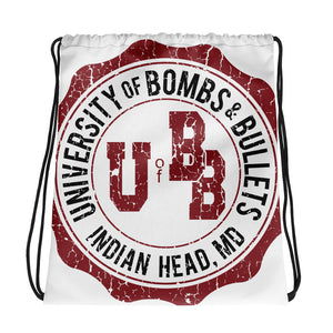 University of Bombs and Bullets Indian Head Cracked Drawstring bag