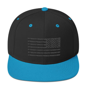 US Flag Stencil black Snapback Hat