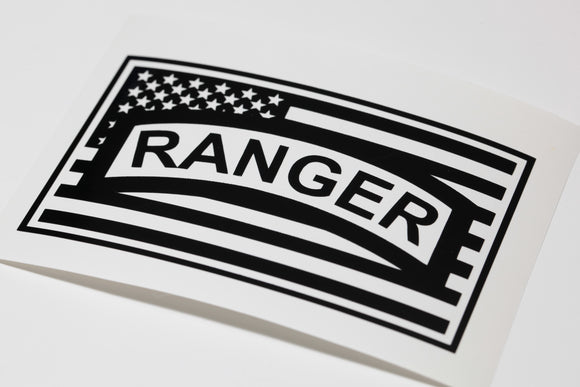 Ranger Tab in Flag Vinyl Decal