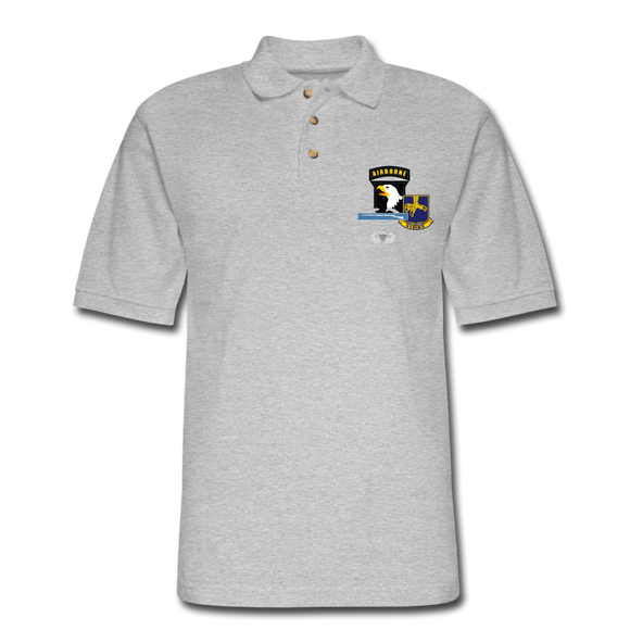 502nd Bn 101st Airborne CIB Airborne Senior Men's Pique Polo Shirt - heather gray