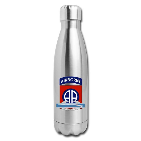 82nd Airborne CIB Insulated Stainless Steel Water Bottle - silver