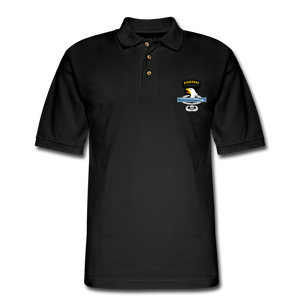 101st Airborne CIB Wings Men's Pique Polo Shirt - black