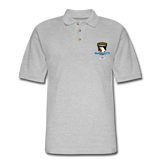 101st Airborne CIB Wings Men's Pique Polo Shirt - heather gray