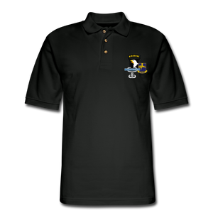 502ND BN 101ST AIRBORNE CIB AIRBORNE Master Men's Pique Polo Shirt - black