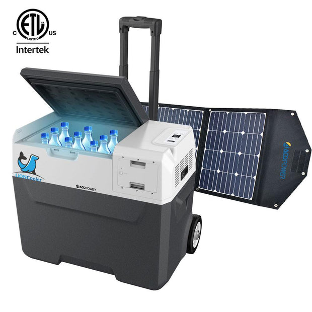 LiONCooler Combo, X40A Portable Solar Fridge/Freezer (42 Quarts) and 90W Solar Panel