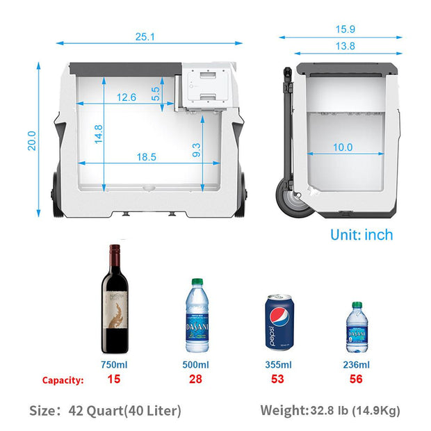 LionCooler X40A Portable Solar Fridge Freezer, 42 Quarts (2019 Model) - acopower