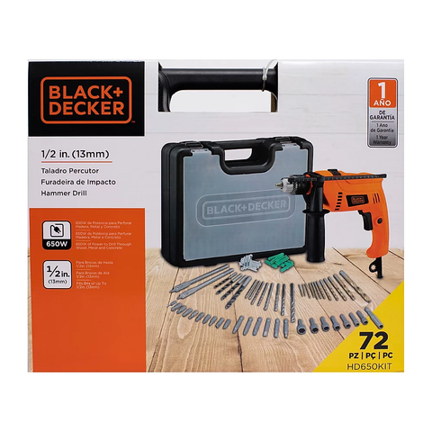 Taladro Martillo (Hammer Drill) Black & Decker (HD650KIT-B3)