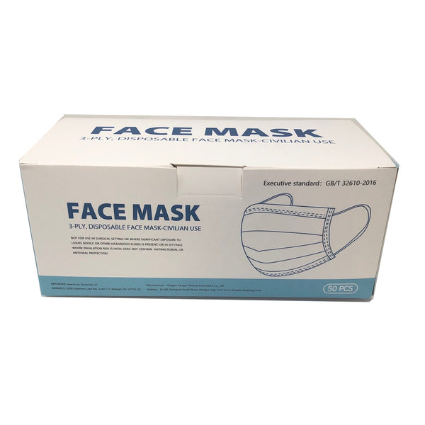 3-Ply Ear Loop Mask - Non Surgical Civilian Grade (package of 50 ea)