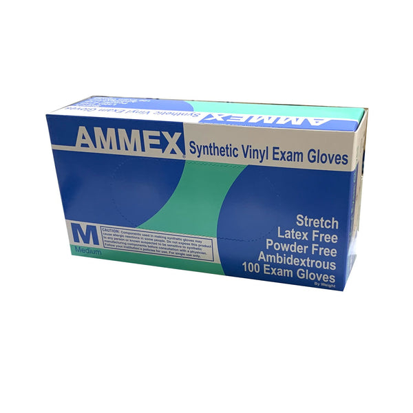 AMMEX - VSP Disposable Stretch Vinyl Exam Gloves, 100/Box