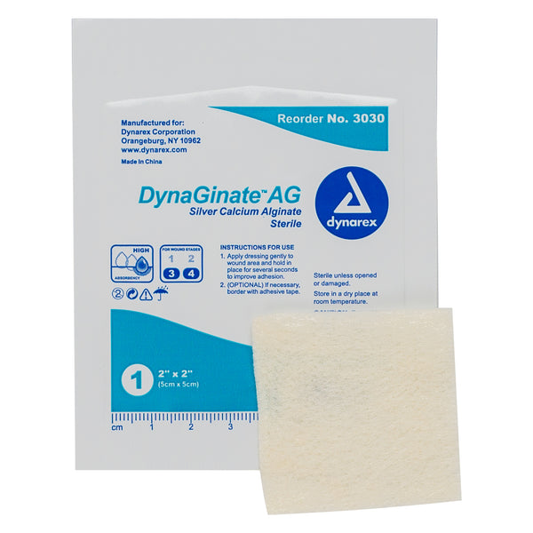 "DynaGinate AG Silver Calcium Alginate Dressing - 2""x2"""