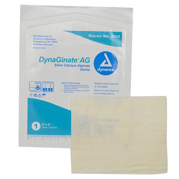 "DynaGinate AG Silver Calcium Alginate Dressing - 4""x5"""