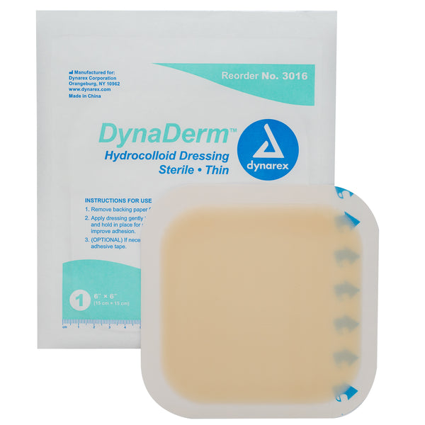 "DynaDerm Hydrocolloid Dressing - Thin - 6""x6"""