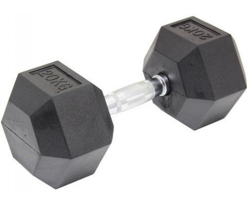 20KG COMMERCIAL RUBBER HEX DUMBELL HEX WEIGHT