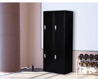 FOUR DOOR GYM STORAGE LOCKER - BLACK