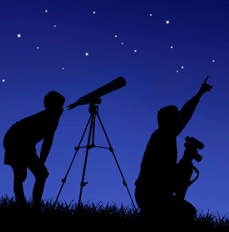 refracting telescope night view a child and his father looking the night sky stars