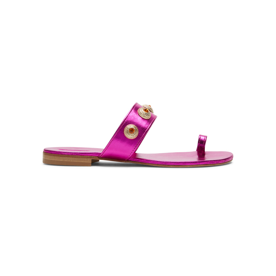 Hot pink shoes: jeweled flat sandals Alexis Isabel