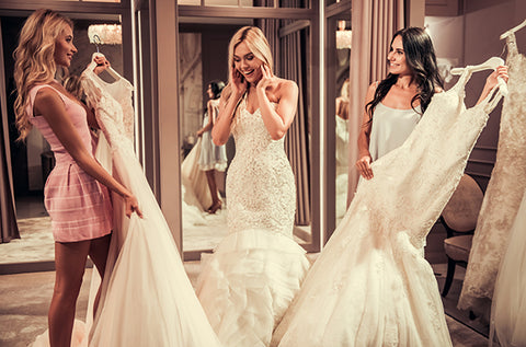 bridesmaids while shopping for your wedding dress