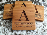 Personalized Monogram Wood Coasters