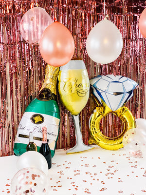 Gold Bachelorette Party Balloons Affordable Flute Glass Foil Balloon