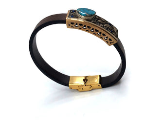 Silver and Brass Leather Bracelet