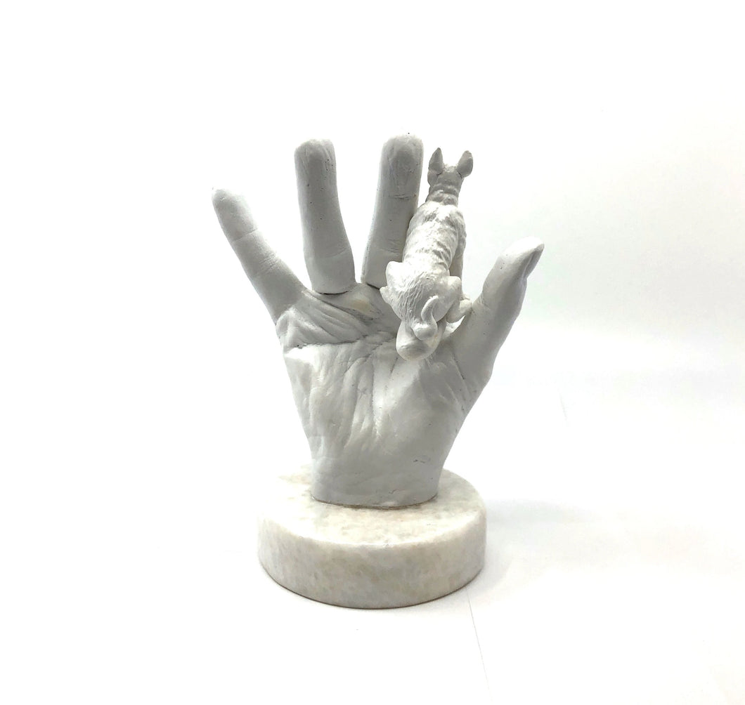 Polyester Hand Sculpture with Dog
