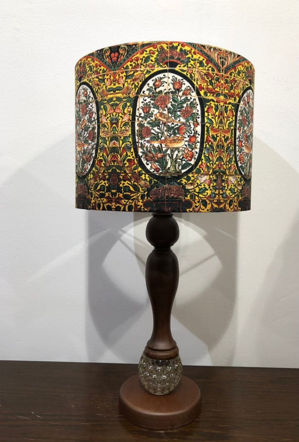 Wooden Side Lamp With Velvet Shade Medium (Round Base with Glass)