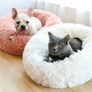 Long Plush Super Soft Dog Bed Pet Kennel Round Sleeping Bag Lounger Cat House