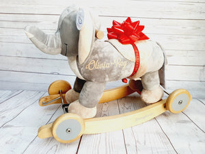 Personalized Elephant Musical Wooden Rocker