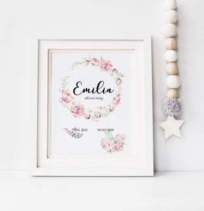 Personalized Watercolor Baby Framed Wall Print, Keepsake Frame, Nursery Decor, Gift for Mom, Baby Shower freeshipping - Kiddio