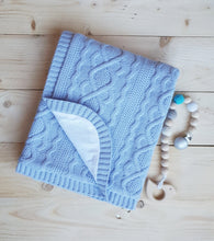 Load image into Gallery viewer, Knitted baby blanket with cotton lining