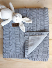 Load image into Gallery viewer, Gorgeous Knitted Baby Blanket With Fur Fabric Lining freeshipping - Kiddio