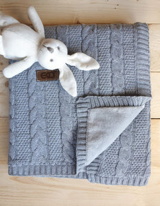 Gorgeous Knitted Baby Blanket With Fur Fabric Lining freeshipping - Kiddio