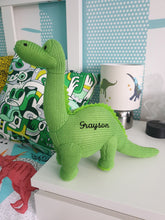 Load image into Gallery viewer, Personalized Knitted Dinosaurs, T-Rex, Diplodocus, Triceratops & Stegosaurus
