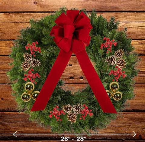 "Decorated Balsam Wreath - 16"" ring (26-28"" Outside Diameter) - Multiple Styles"