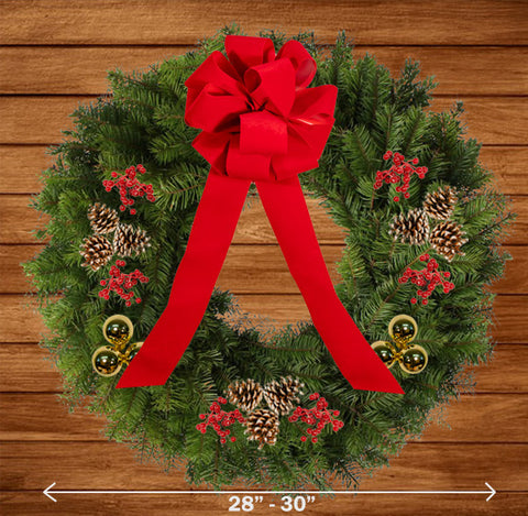 "Decorated Balsam Wreath - 18"" ring (28-30"" Outside Diameter) - Multiple Styles"