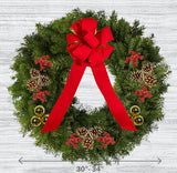 "Decorated Balsam Wreath - 20"" ring (30-34"" Outside Diameter) - Multiple Styles"