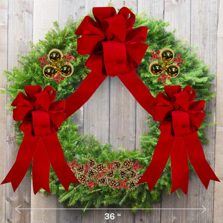 "Decorated Balsam Wreath - 24"" ring (36"" Outside Diameter) - Multiple Styles"