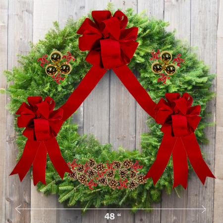 "Decorated Balsam Wreath - 36"" ring (48"" Outside Diameter) - Multiple Styles"