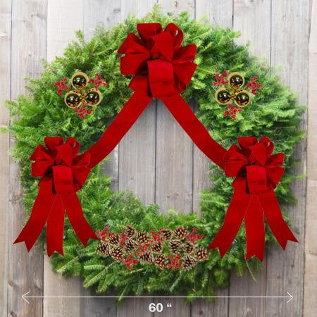 "Decorated Balsam Wreath - 48"" ring (60"" Outside Diamater) - Multiple Styles"