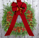 "Decorated Balsam Wreath - 12"" ring (24"" Outside Diameter) - Multiple Styles"