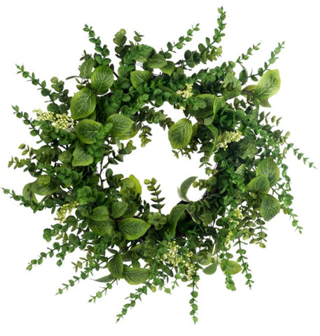 Artificial Mixed Eucalyptus Wreath 24""