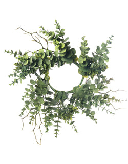 Artificial Mixed Eucalyptus Wreath/Candle Ring 6""