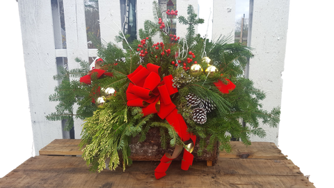 Fresh Holiday Log Basket - Decorated (Multiple Styles)