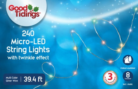 LED Twinkle String Lights - 240 Micro Warm White Colored Bulbs
