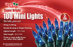 Super Bright Lights - 100 Mini Blue Bulbs with Green Wire