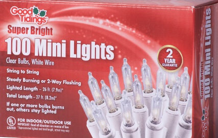Super Bright Lights - 100 Mini Clear Bulbs with White Wire