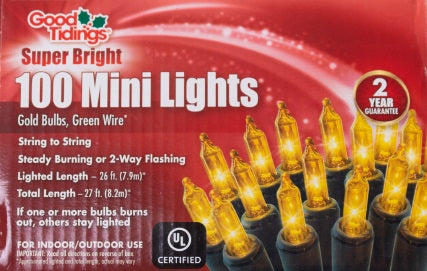 Super Bright Lights - 100 Mini Gold Bulbs with Green Wire