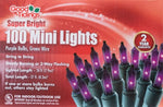 Super Bright Lights - 100 Mini Purple Bulbs with Green Wire