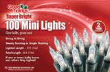 Super Bright Lights - Mini Clear Bulbs with Green Wire
